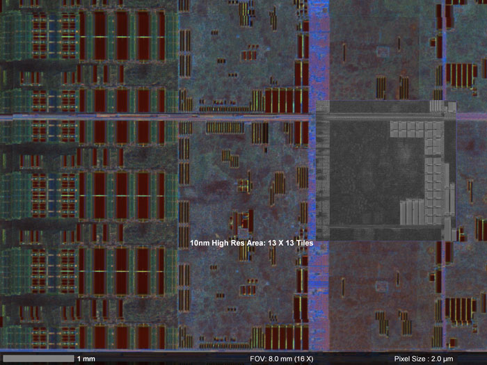 Light microscope and SEM images of an integrated circuit, merged in the Atlas 5 correlative workspace.